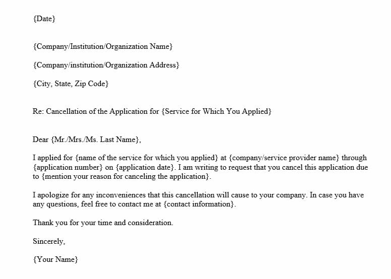 Application Cancellation Letter (Word Template)