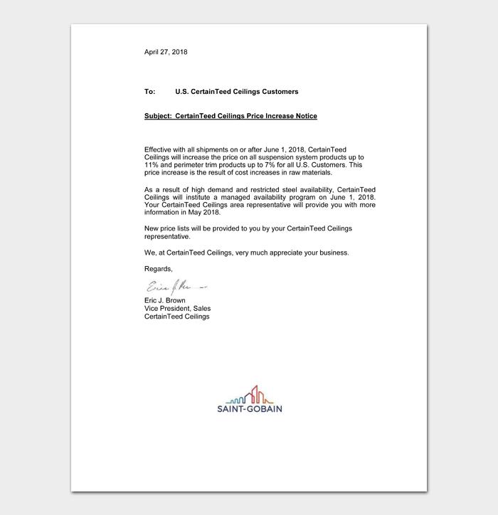 CertainTeed Ceilings Price Increase Notice