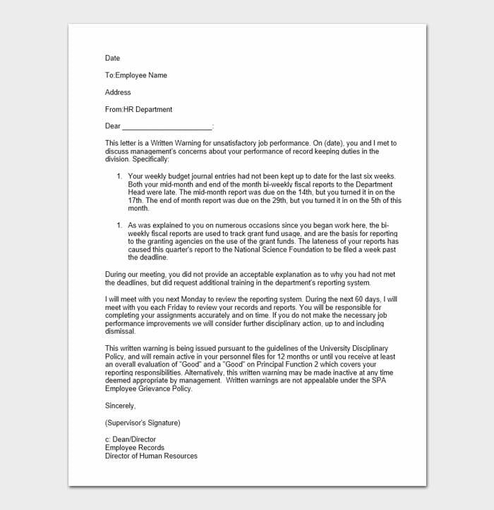 Employee Warning Form 6