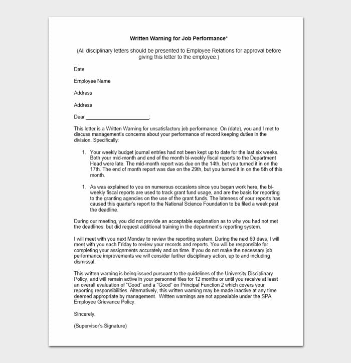 Employee Warning Form 8