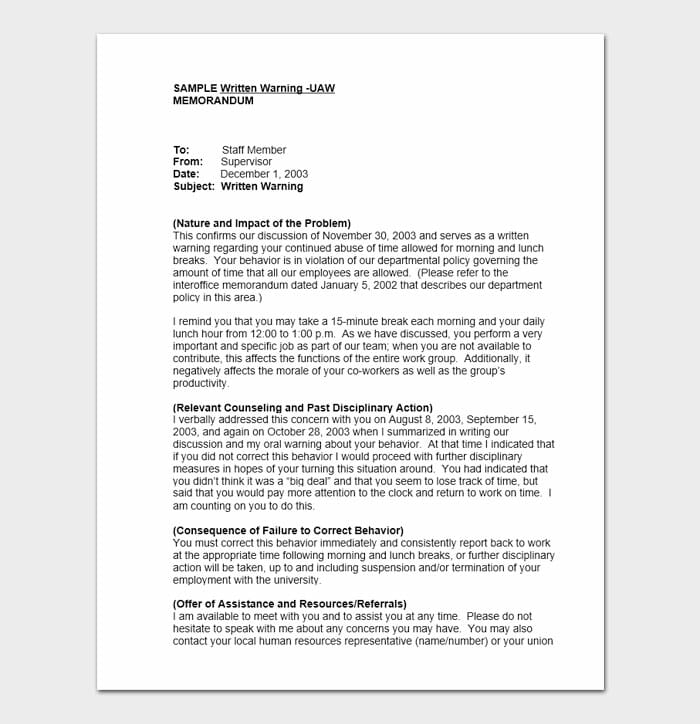 Employee Warning Form 10