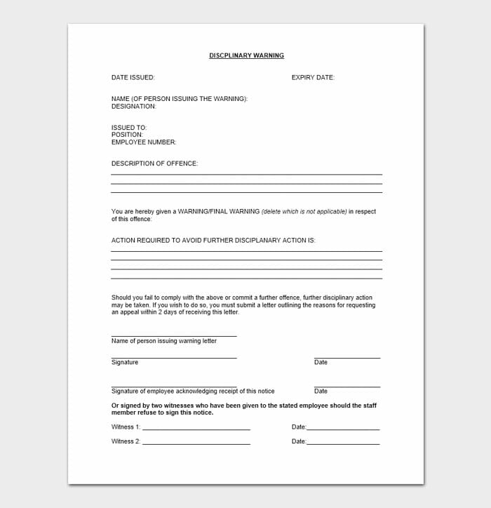 Employee Disciplinary Letter 8