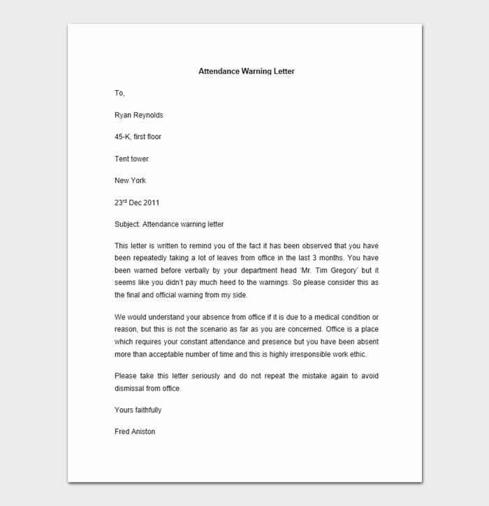 Employee Disciplinary Letter 9