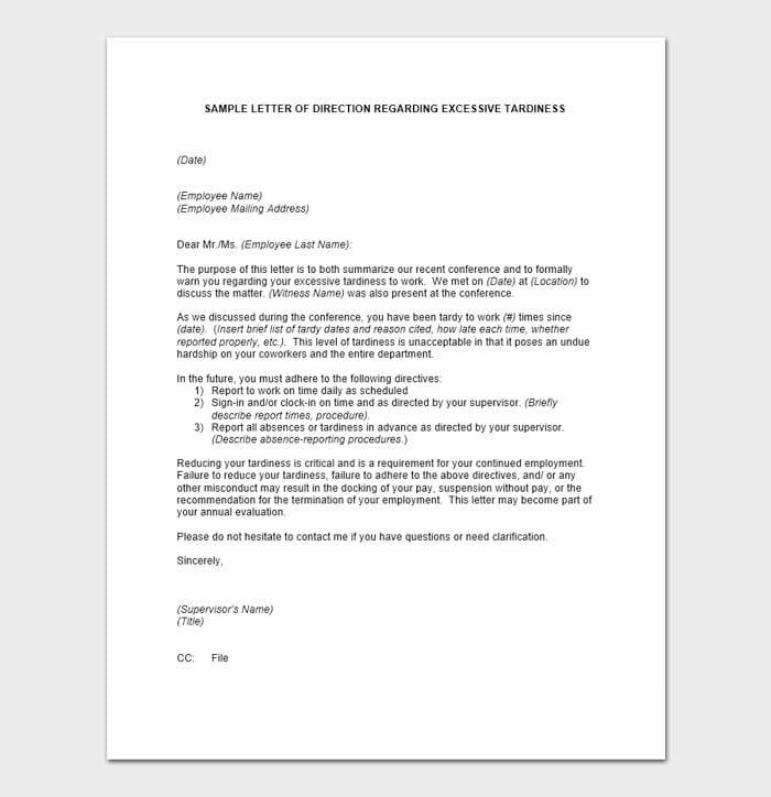 Employee Warning Letter Example 9