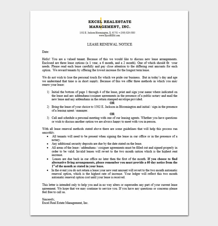 Lease Renewal Templates 5