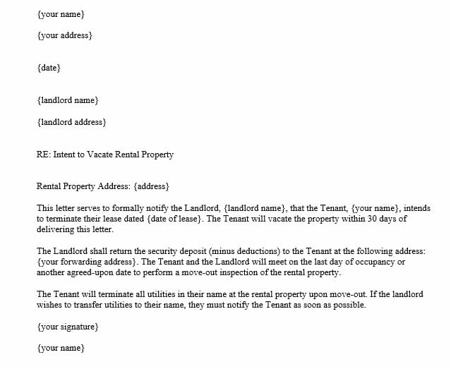 Letter of Intent to Vacate Rental Property (Word Template)