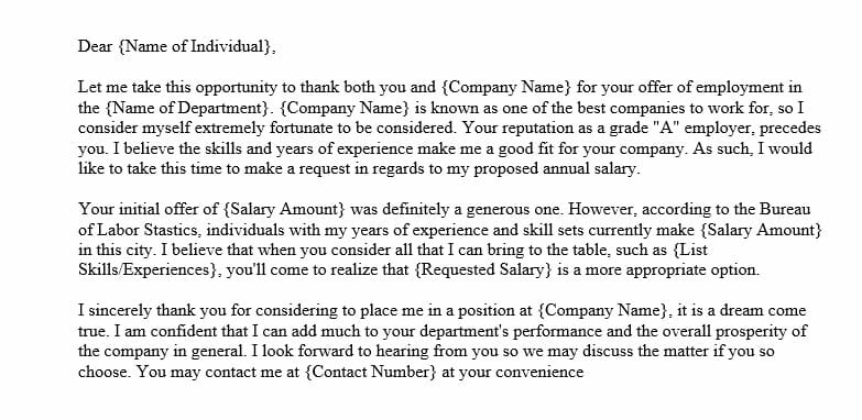 Salary Negotiation Letter after Job Offer (Word Template)