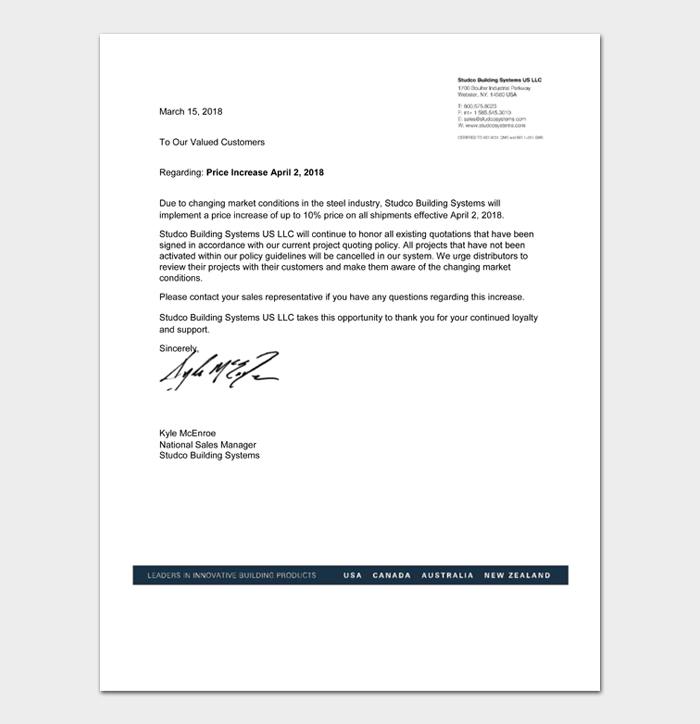 Letters To Customers About Price Increase #23