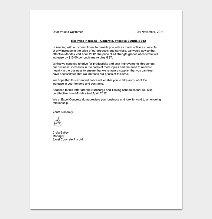Letters To Customers About Price Increase #25