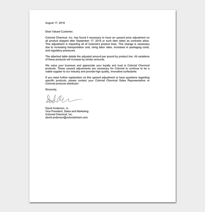 Letters To Customers About Price Increase #26