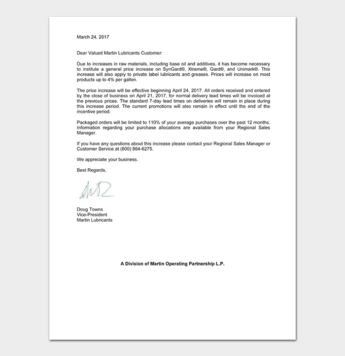 Letters To Customers About Price Increase #28