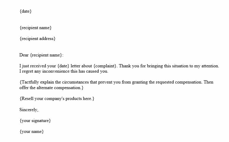 Partial Adjustment Letter (Word Template)