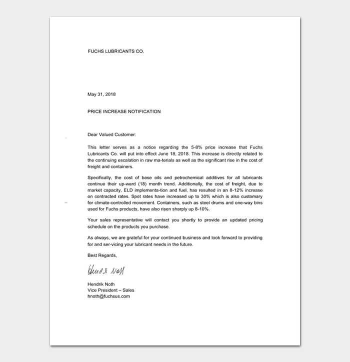Price Increase Letter Templates #30