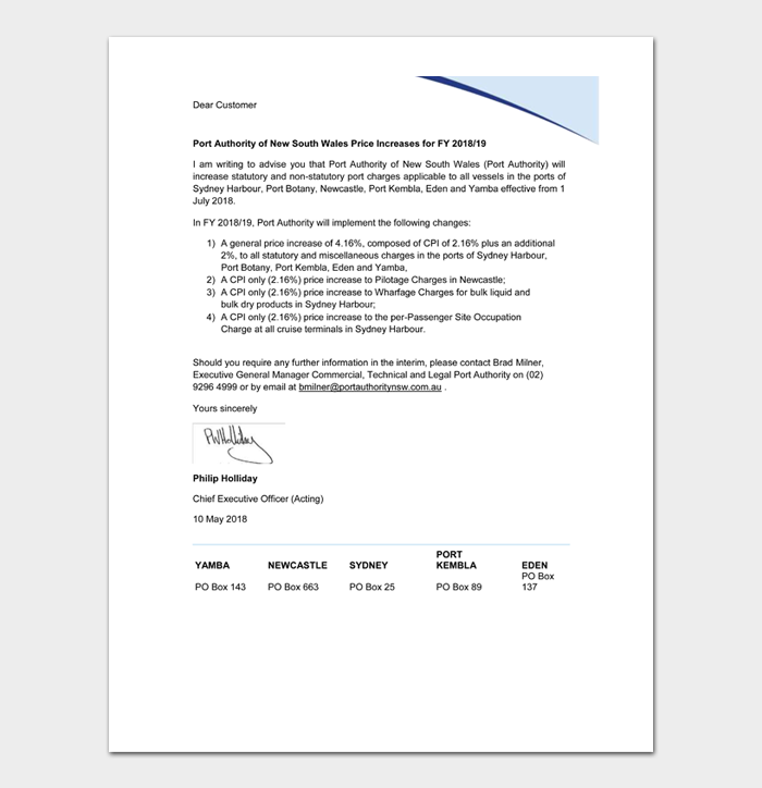 Price Increase Letter Templates #35