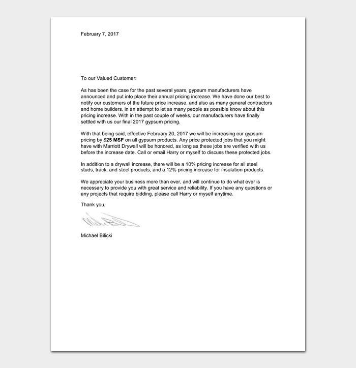 Price Increase Letter Templates #36