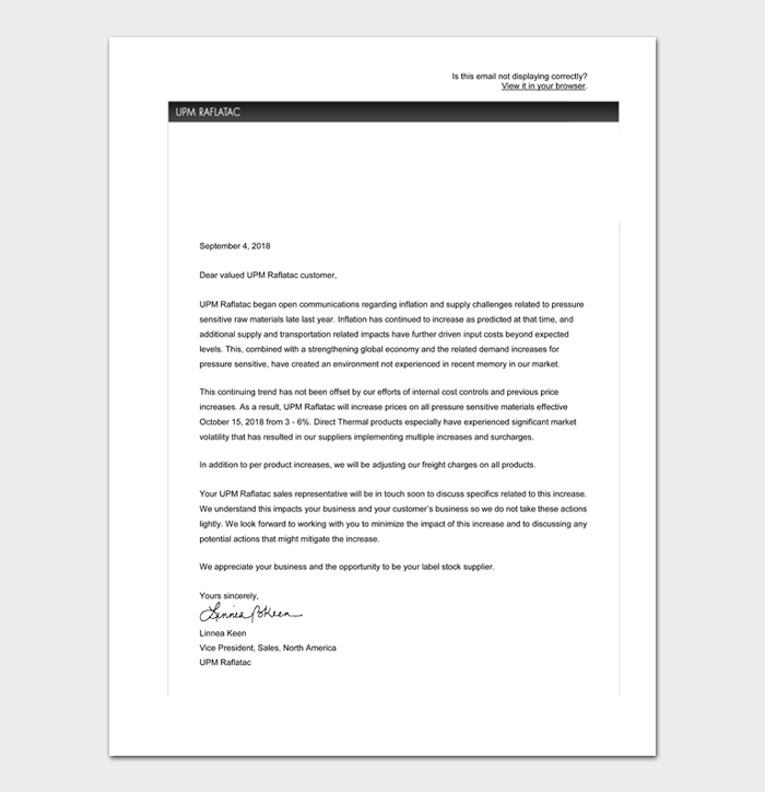 Price Increase Letter Templates #37