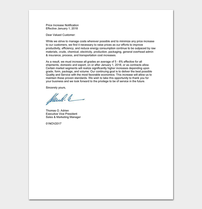 Price Increase Letter Templates #38
