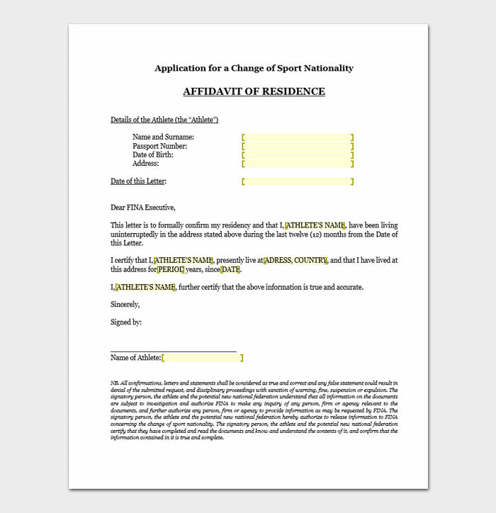 Affidavit of Residence 02