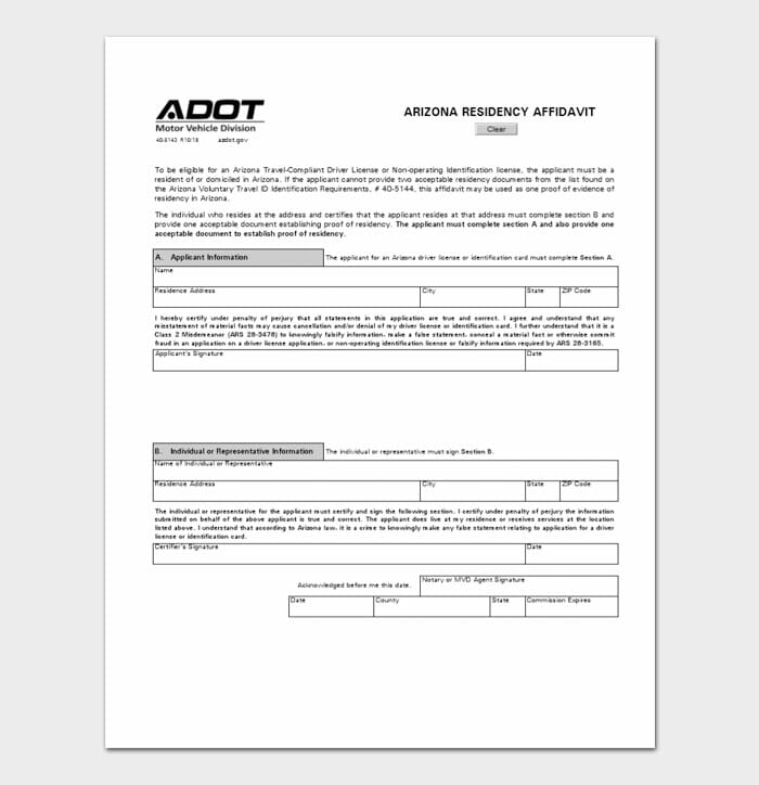 Arizona Residence Affidavit