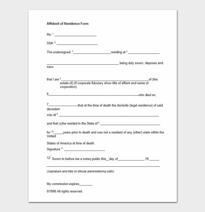 Affidavit of Residence Form