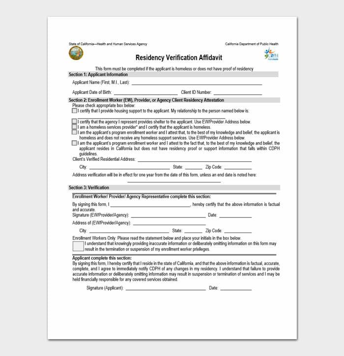 Residency Verification Affidavit