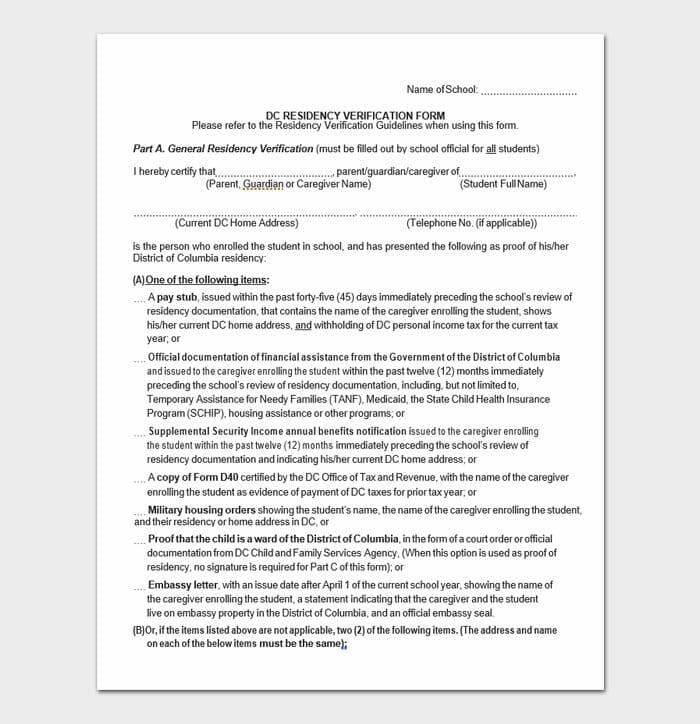DC Residency Verification Form