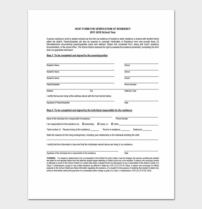 Form for Verification of Residency