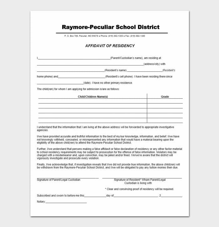 Notarized Letter of Residency 1