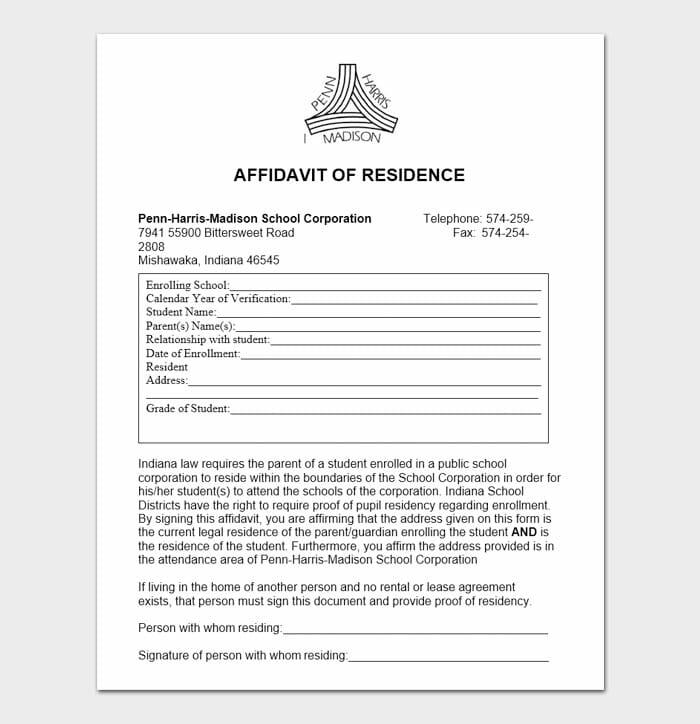 Notarized Letter of Residency 3