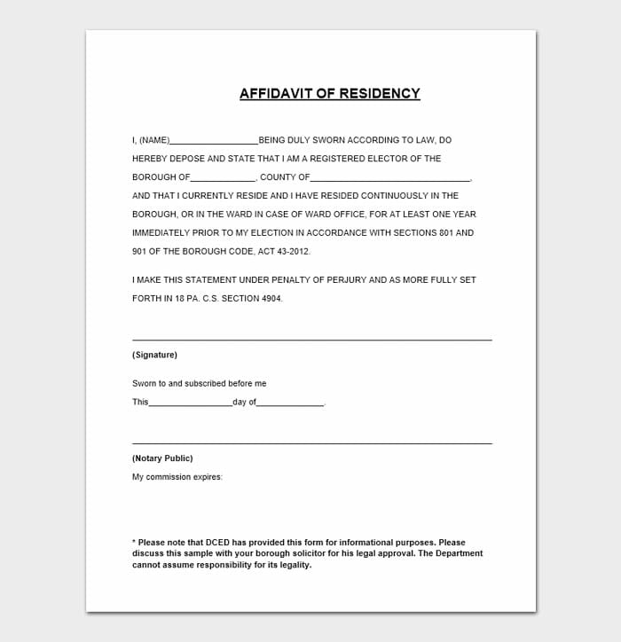 Notarized Letter of Residency 4