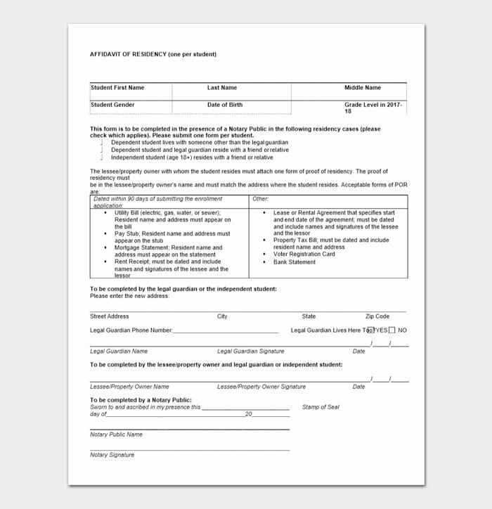 Notarized Letter of Residency 7