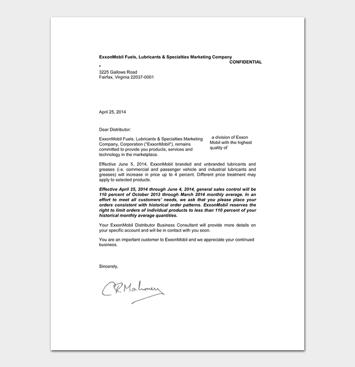 Rate Increase Letters #14
