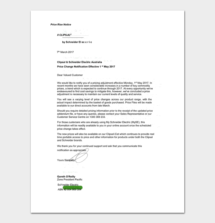 Rate Increase Letters #15