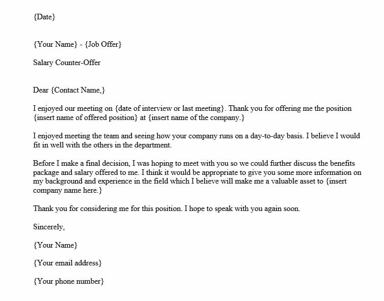 Salary Negotiation Counter Offer Letter (Word Template)