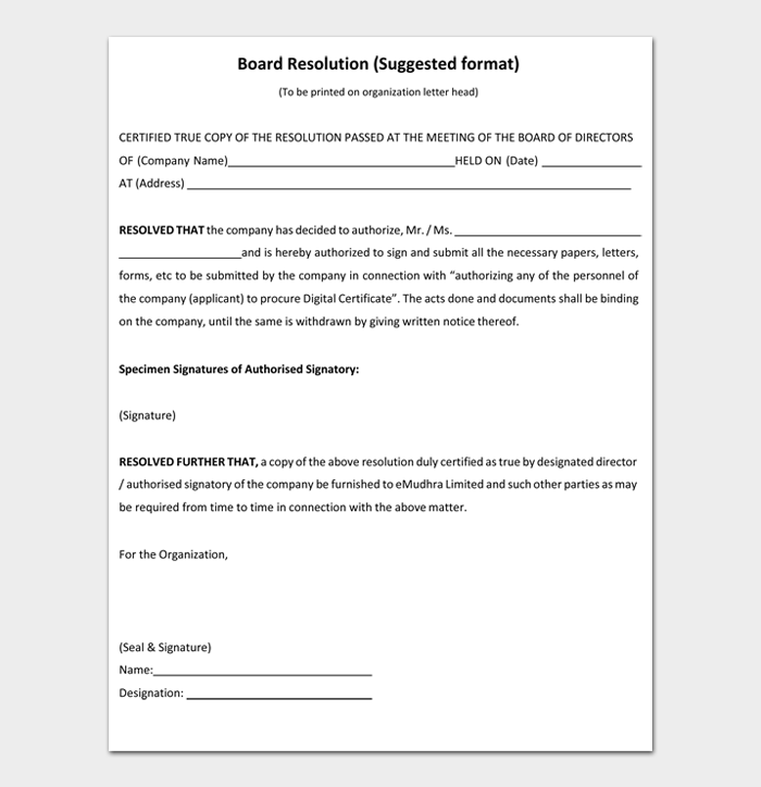 Board Resolution (Suggested format)