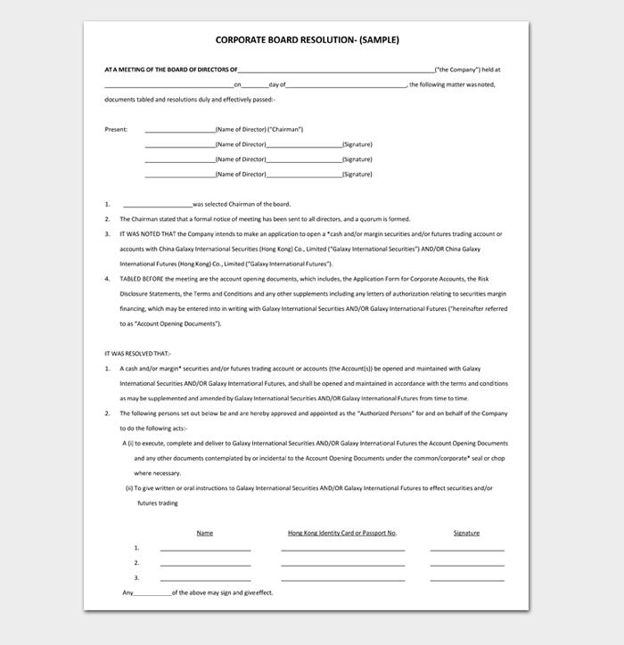CORPORATE BOARD RESOLUTION  (SAMPLE)