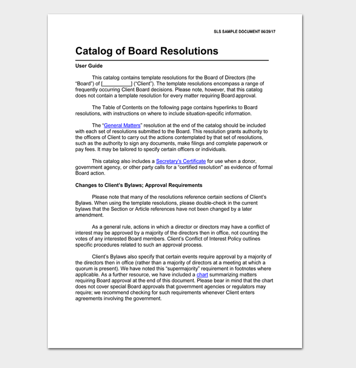 Catalog of Board Resolutions