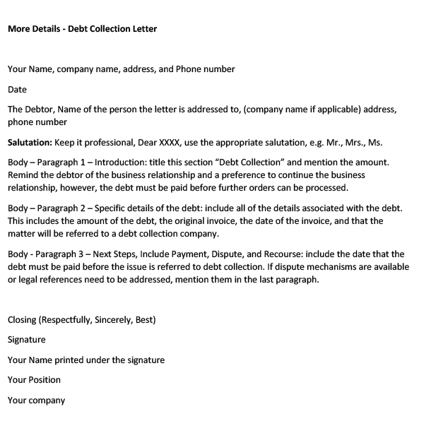 Debt Collection Letter (Word Template)