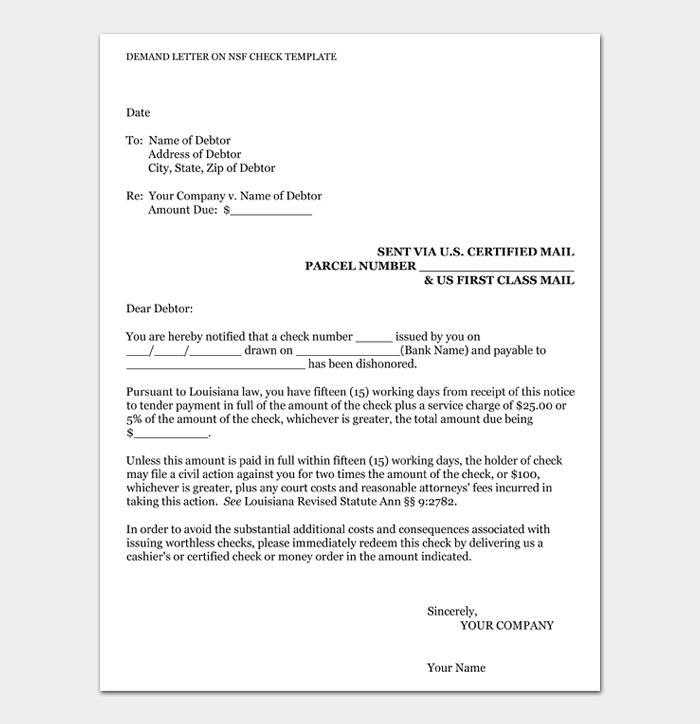 Demand Letter on NSF Check