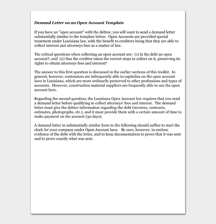 Demand Letter on an Open Account Template