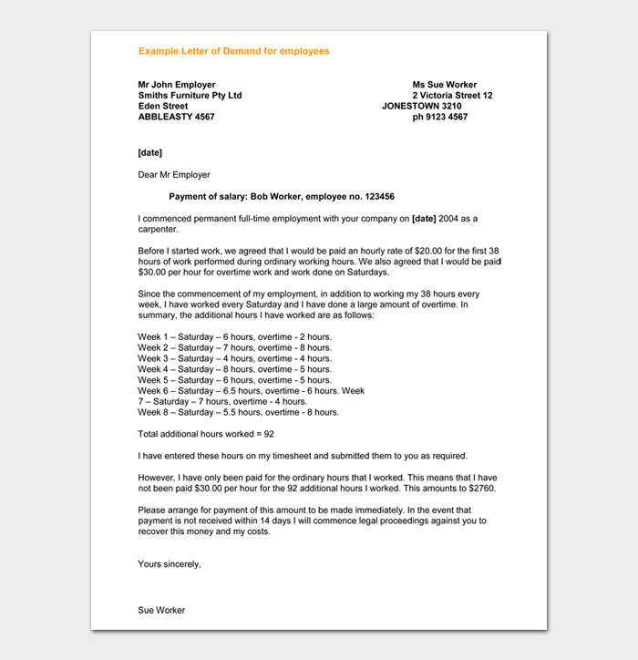 Example Letter of Demand for employees