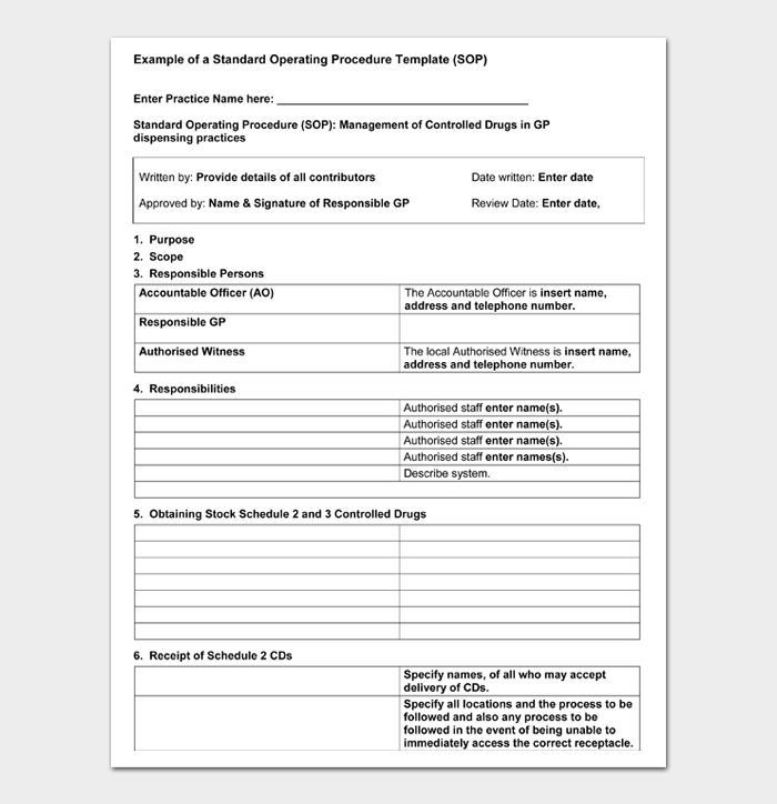 Example of a Standard Operating Procedure Template (SOP)