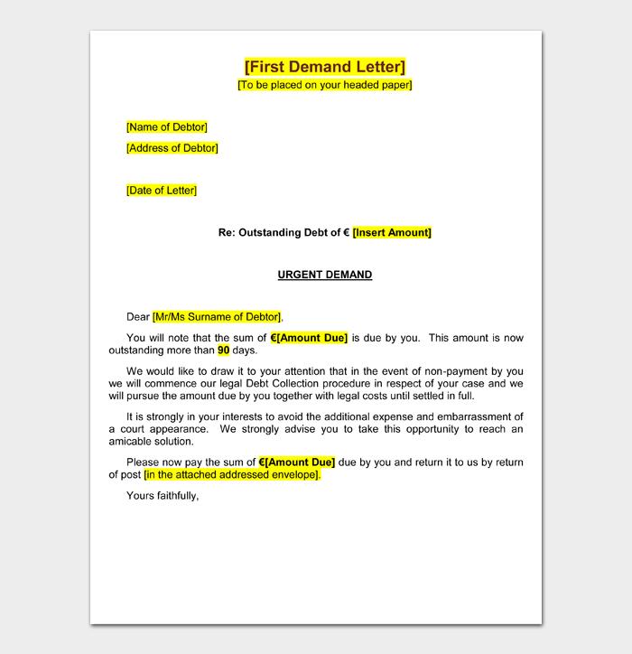First Demand Letter