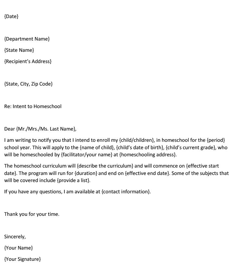 Homeschool Letter of Intent