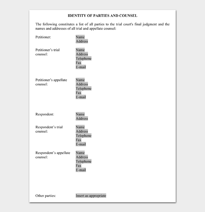 IDENTITY OF PARTIES AND COUNSEL