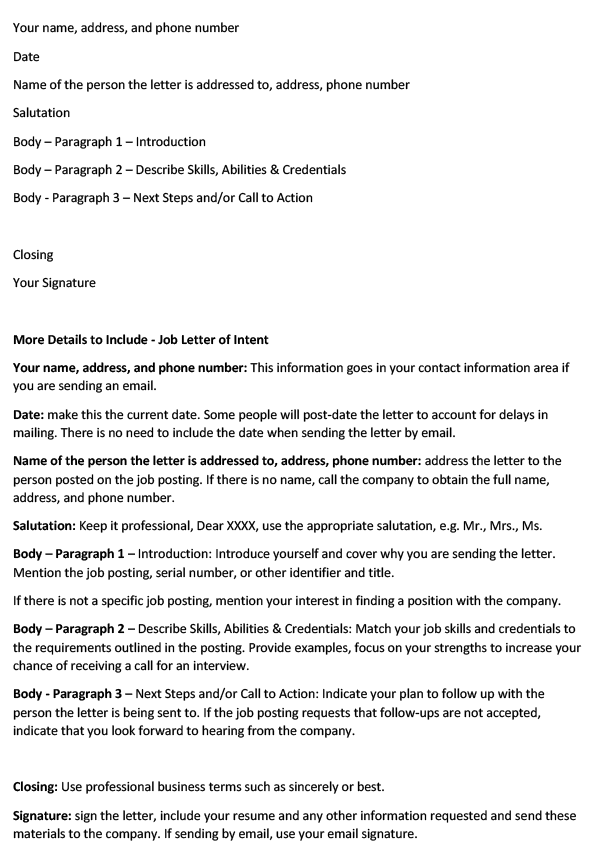 Job Letter of Intent (Word Template)