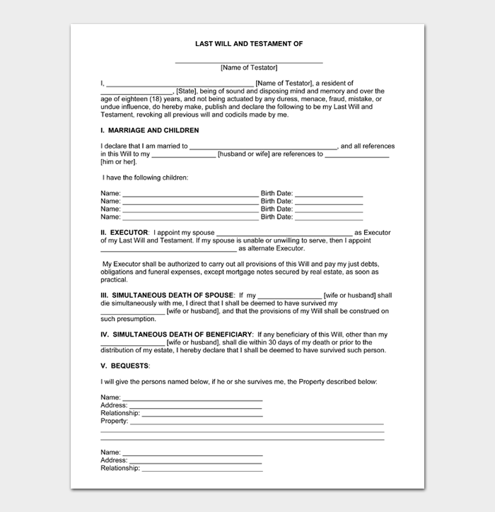 Last Will and Testament Forms and Templates #01