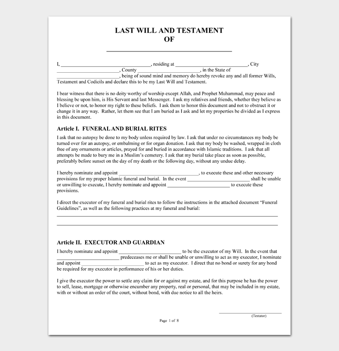Last Will and Testament Forms and Templates #03
