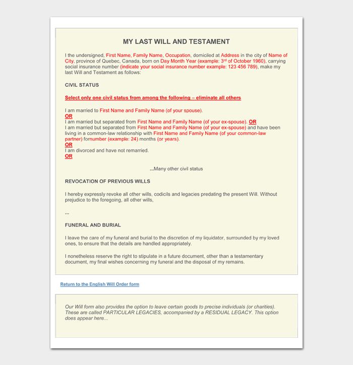 Last Will and Testament Forms and Templates #07