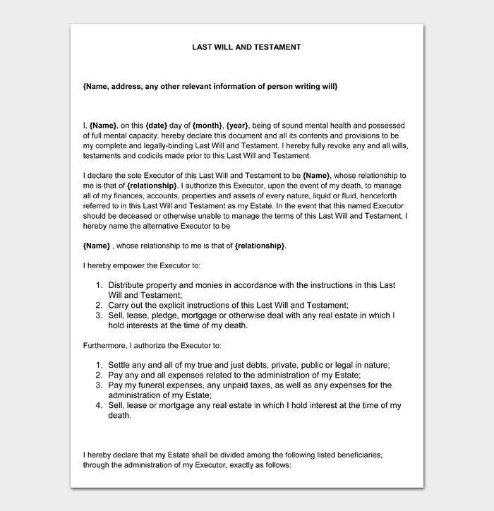 Last Will and Testament Forms and Templates #08